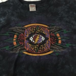 Vintage Tops - Vintage Black Tie Dyed Grateful Dead Band Tee